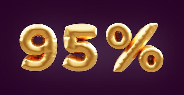 95 percent golden 3d balloon illustration. 3d golden ninety five percent balloon illustration. 95% golden balloons