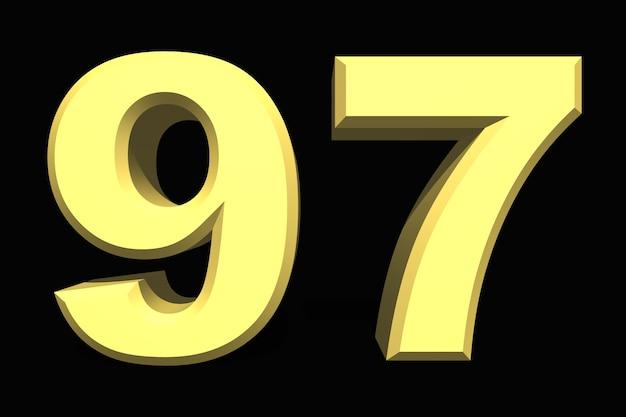 97 97 숫자 3d 어두운 배경에 파란색
