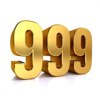 Цифра 999, девятьсот девяносто девять, изолированные на белом фоне, 3d визуализации