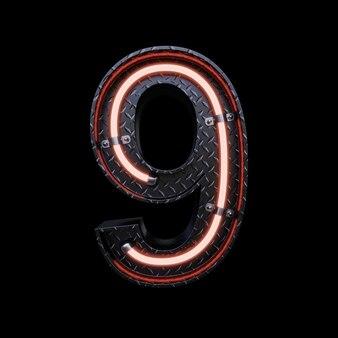赤いネオンのネオンライト文字9。