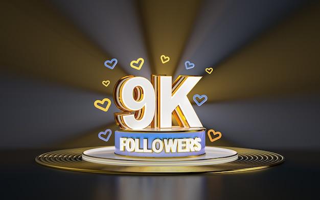Празднование 9k подписчиков спасибо баннер в социальных сетях с золотым фоном прожектора 3d визуализации