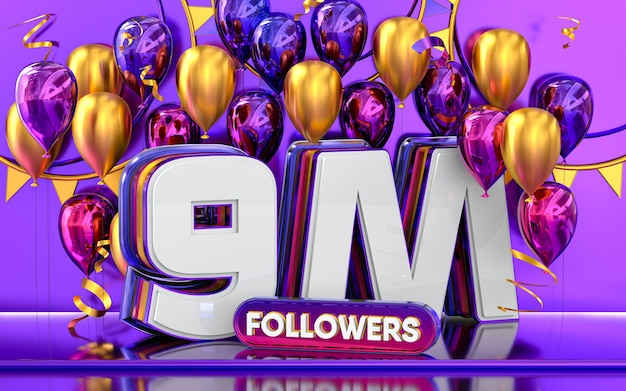 9m followers celebration thank you social media banner with purple and gold balloon 3d rendering