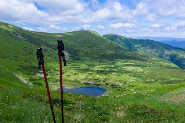 観光は山のパノラマの背景に対してスティックします。