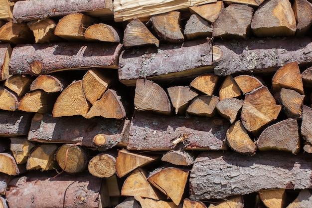木製の背景として薪