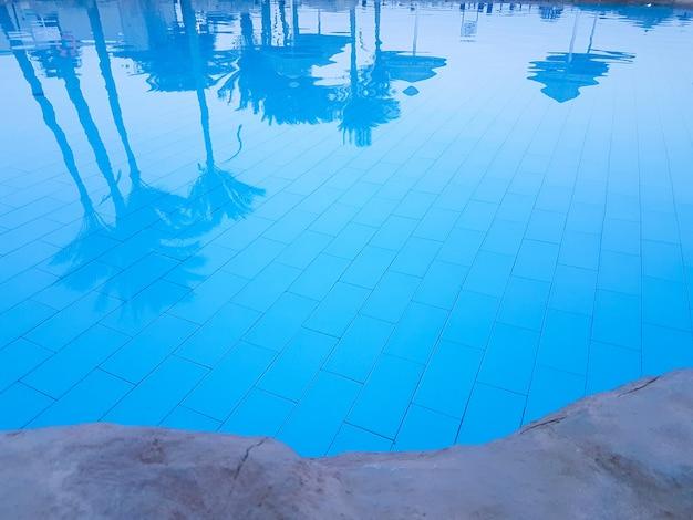 プールの青い水の中のヤシの木を反映
