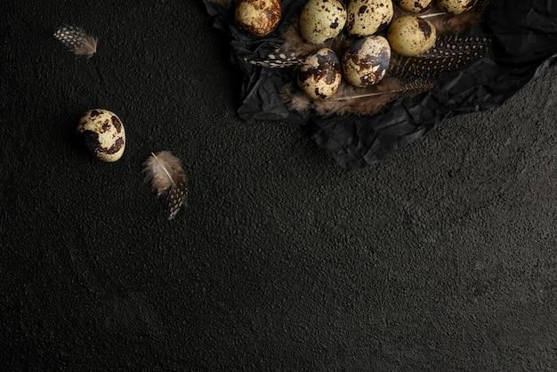 黒いしわくちゃの包装紙にウズラの卵と羽。黒のテクスチャ背景にむらの小さな卵がたくさん。コピースペース。健康食品。