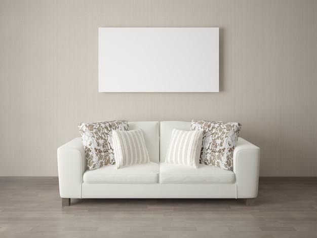 現代的な壁紙を背景にしたコンパクトなソファのポスター