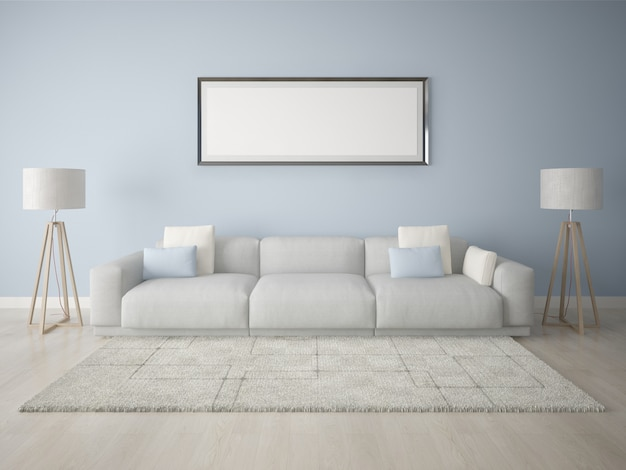 青い背景のポスターフレームモダンなリビングルーム