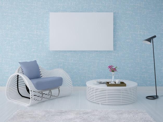 肘掛け椅子とコーヒーテーブルの装飾的なプラスターの背景にポスター空のフレーム