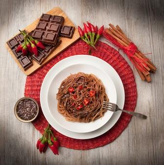チョコレートとコショウのイタリアンスパゲッティ