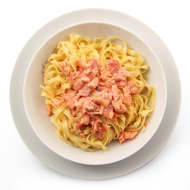 Итальянская тальятелле с лососем