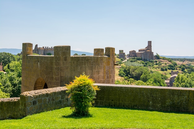 Тускания, витербо, италия: парк и стена торре ди лавелло