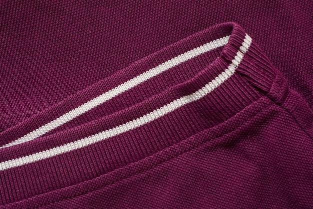 紫色のポロシャツは、織り目加工、綿生地。