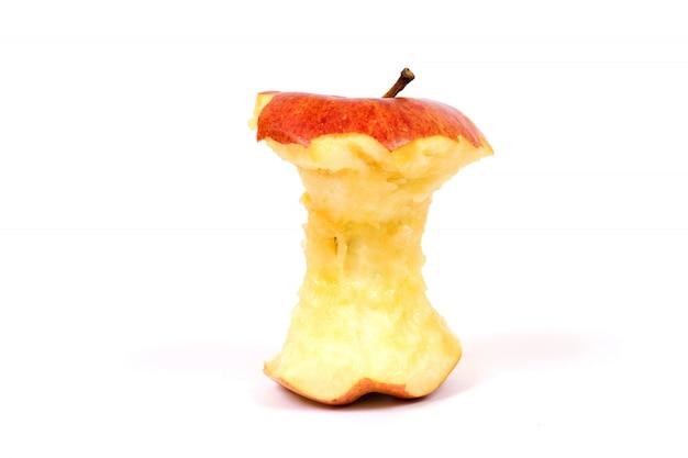 白地に赤いリンゴの芯