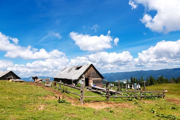山の中の古い木造の納屋のある世帯
