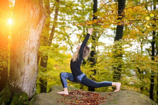 女性はヨガを練習し、大きな石の上の秋の森でアーサナをやっています。