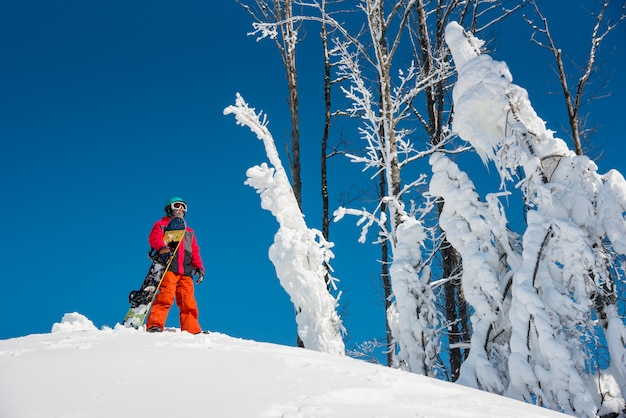 晴れた冬の日に彼のスノーボードで山の頂上に立っているスノーボーダー