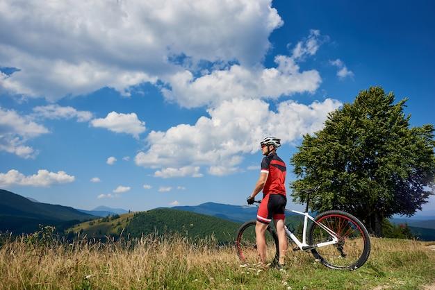 草で覆われた丘の上に自転車で立っているプロの自転車の背面図。