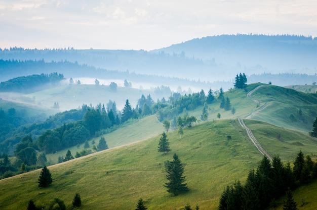 風景の山々、森、丘の道と素晴らしい美しい霧の朝