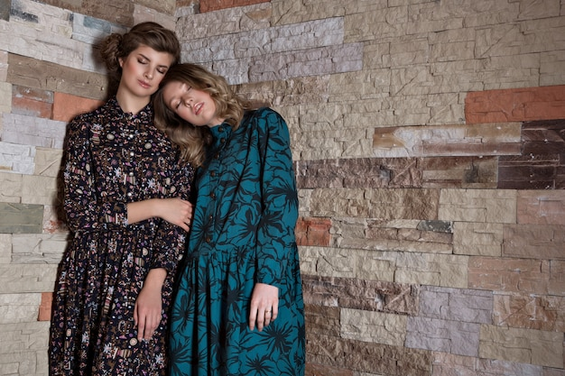 女性のためのファッションの広告:ドレス、靴。笑っている二人の幸せな女の子。ハグの女性の肖像画。家族、友人、姉妹、愛するカップルの関係。