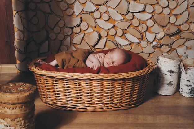 生まれたばかりの赤ちゃんがバスケットで寝ている毛布に包まれて