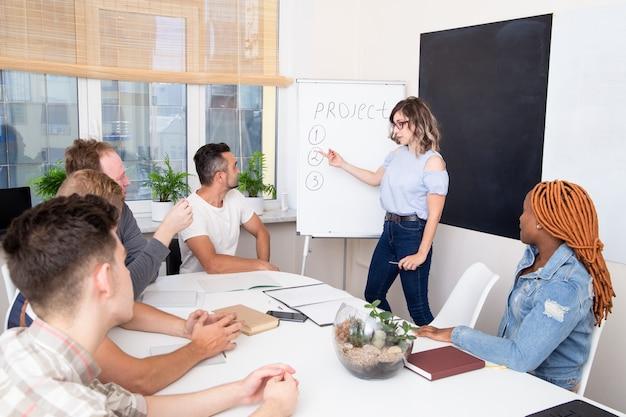 ビジネストレーニングの学生のグループは、スピーカーに耳を傾けます。女子学生が質問に答える