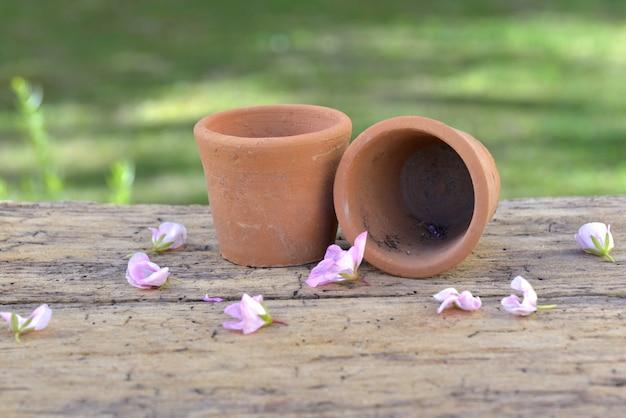 Маленькая терракота пустые вазоны и лепестки цветка на доске в саду
