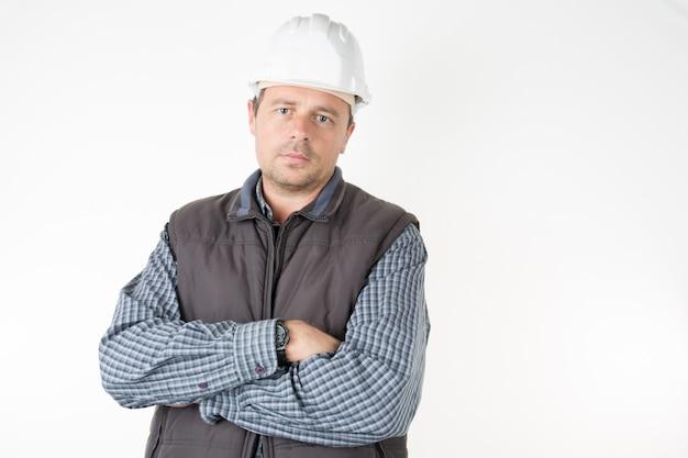労働者の男の作業場所の修理、建設、建築、メンテナンスの概念