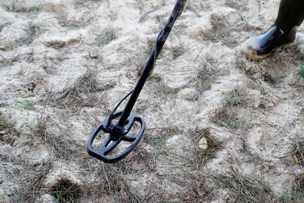 砂浜の金属探知機