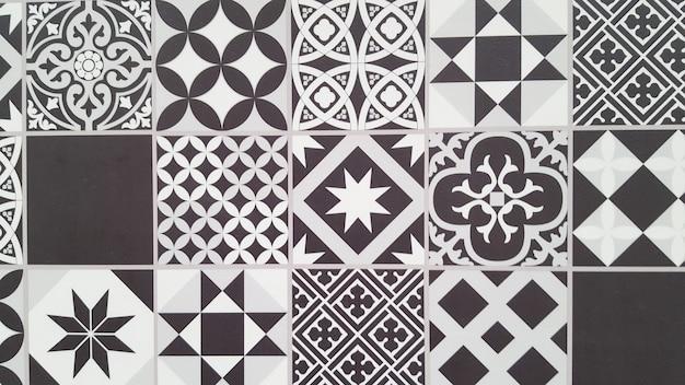 ポルトガルタイルパターンリスボンシームレスな黒と白のタイル