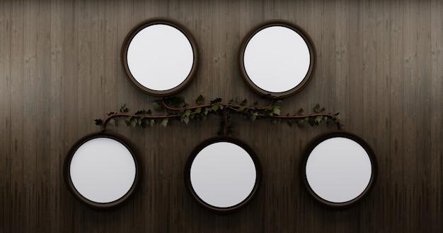 木製の壁の背景にモックアップのサークルフレームと家系図。壁の図。
