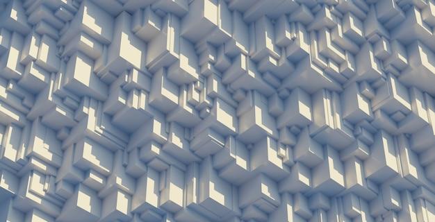 白の抽象的な幾何学的なキューブ形状の壁の背景