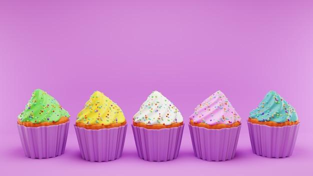 ピンクのフロスティングホイップクリームの異なる色のカップケーキ