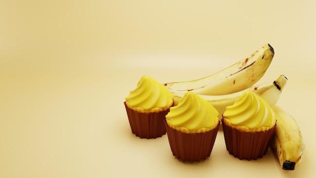黄色の表面バックグラウンドで甘いバナナカップケーキ