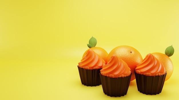 黄色の表面バックグラウンドでオレンジ色のカップケーキ