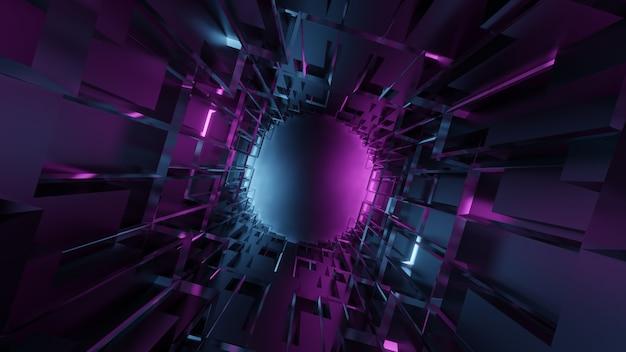 パープルブルーのグラデーションで未来的な抽象的な地下の幾何学的なトンネル