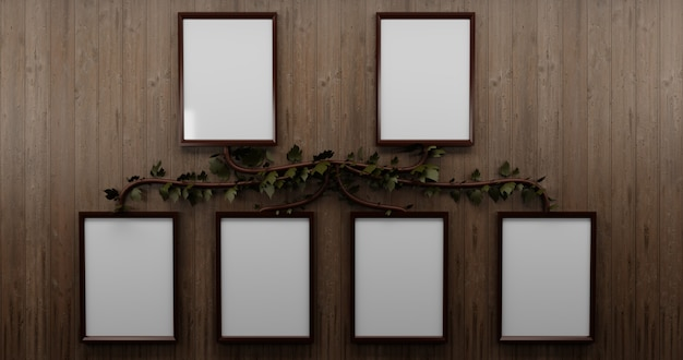 木製の壁、家族の写真の壁に木の枝と家系図フレーム
