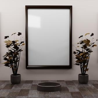 Один кадр на стене с парой мини-осеннее дерево на столе.