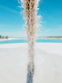 下水道からの下水は湖を汚染します。汚れた水が青い川に流れ出しました。水質汚染、産業排水前に水を処理しません。環境汚染の概念、生態学的安全性、安全な惑星