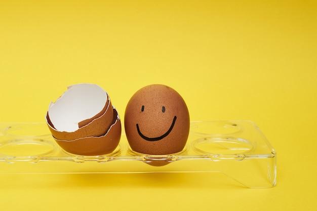 卵ホルダーに鶏の卵。卵のフルトレイ。卵に描かれた感情と表情。