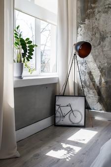 Современный эко лофт интерьер в спальне