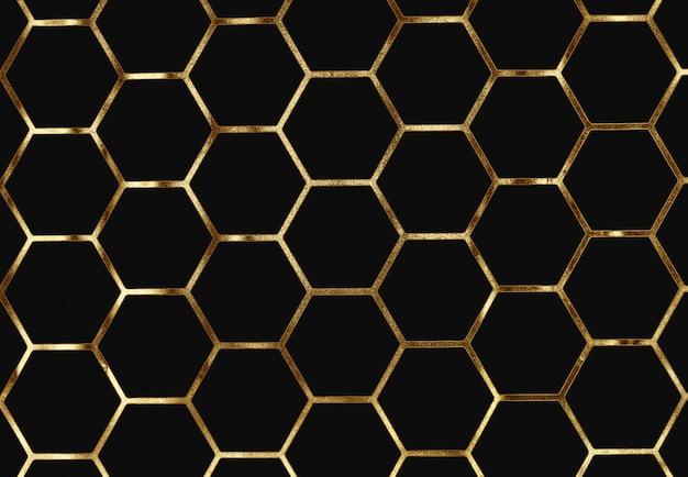 黄金の抽象的な背景、黄金の細胞、五角形