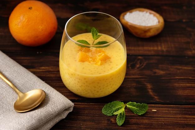 オレンジ風味の美味しいビーガンタピオカプリン