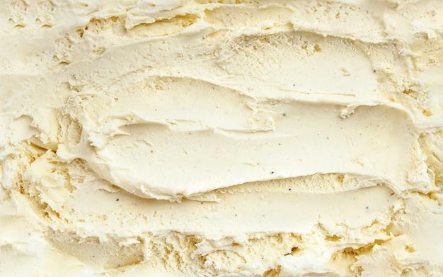 バニラアイスクリームの表面の平面図