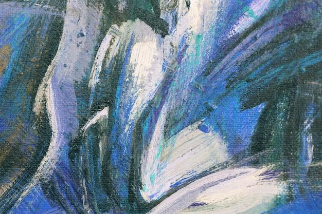Синяя текстура акриловой живописи