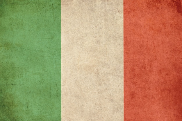 Итальянский флаг, старая открытка текстурированный стиль