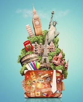 旅行のためのバッグの中の都市