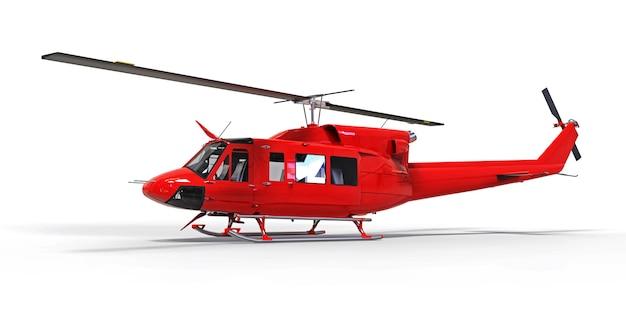 Красный маленький военно-транспортный вертолет на белом фоне изолированные