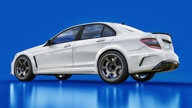 Супер быстрый белый спортивный автомобиль на синем фоне. форма кузова седан. тюнинг это версия обычного семейного автомобиля