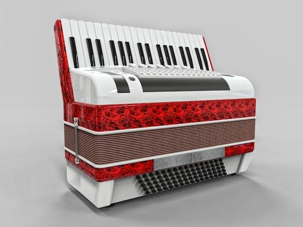 Красный и белый аккордеон на сером фоне изолированные
